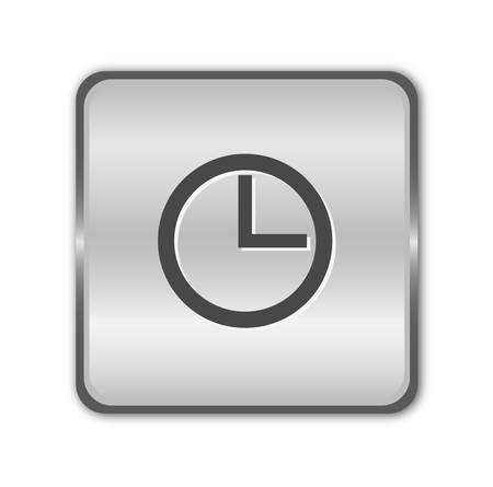 Chrome clock button Stock Vector - 8141107