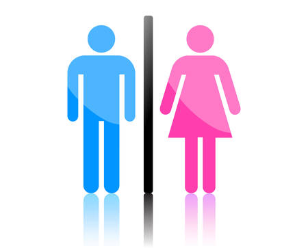 pee: Colored male and female sign vector Illustration