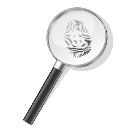 Detectives magnifier with dollar fingerprin Vector