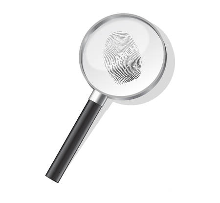 Detectives magnifier with search fingerprint Stock Vector - 8273105