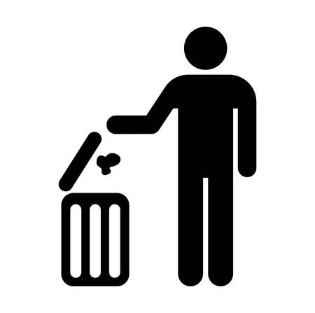 Figure of person throwing garbage into a trash can Stock Vector - 8273059