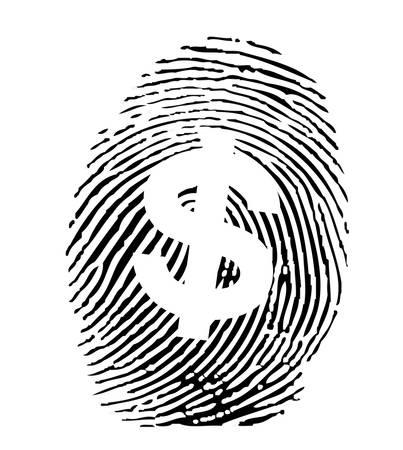Fingerprint with a dollar sign Vector