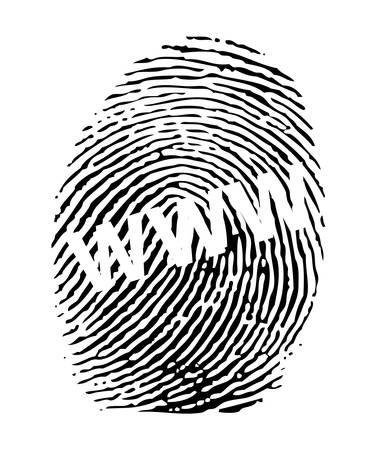 www at sign: Fingerprint with a WWW sign