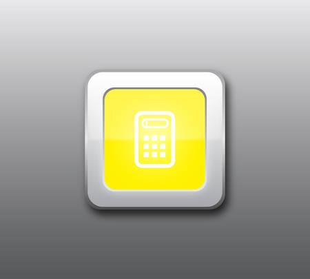 Yellow calculator button vector Vector
