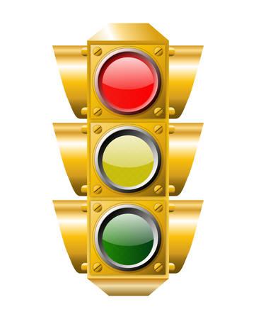 traffic signal: Feu rouge ON Illustration