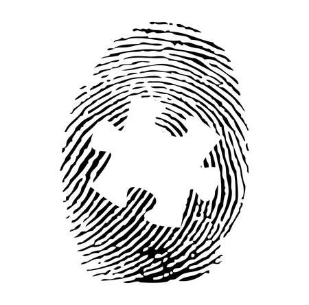odcisk kciuka: Układanka — odcisków palców Ilustracja