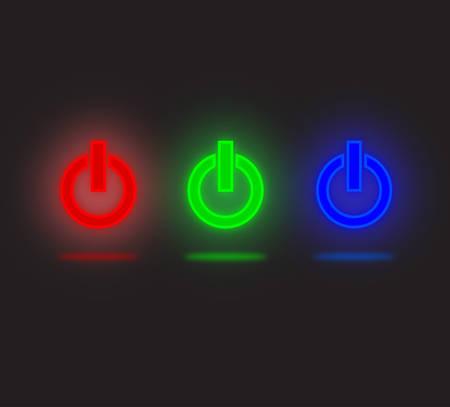 boton stop: Bot�n de encendido de LED de vectores Vectores