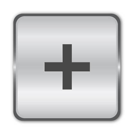 Además botón cromado Ilustración de vector