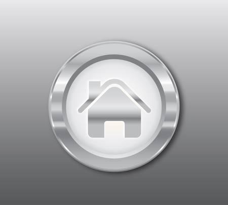 Silver home button Stock Vector - 9280913