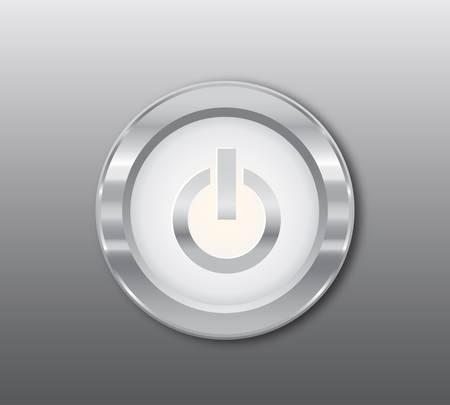Silver power button Stock Vector - 9280908