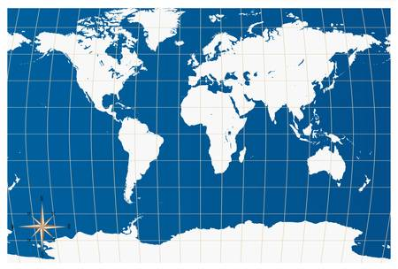 Vector  white world map isolated over a blue background