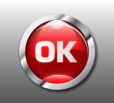 Red ok button Vector
