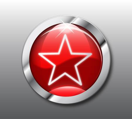 Red star button Stock Vector - 9356117