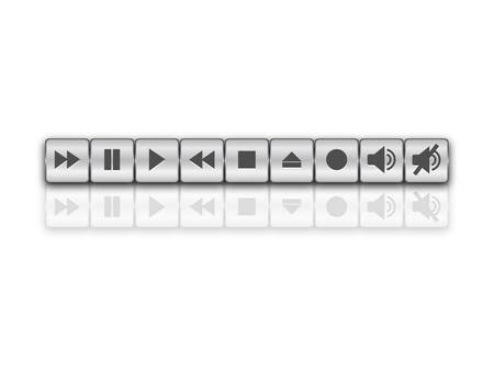 Chrome music buttons Vector