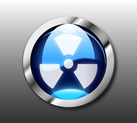 atomic symbol: Blue nuclear button