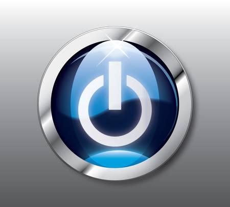 power button: Blue power button Illustration