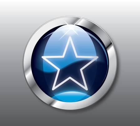 Blue star button Vector