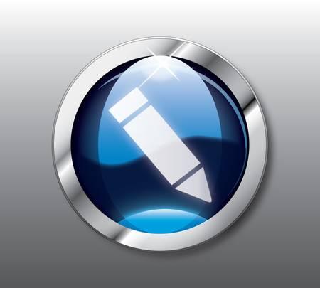 Blue sign button Vector