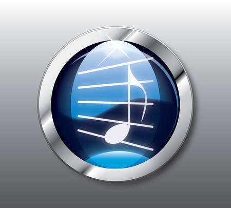 Blue music button Vector
