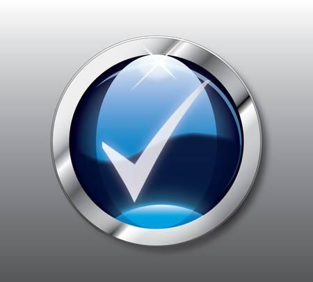 Blue check button Vector