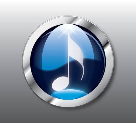 are sound: Bot�n de nota azul Vectores