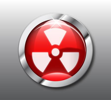 atomic symbol: Red nuclear button Illustration