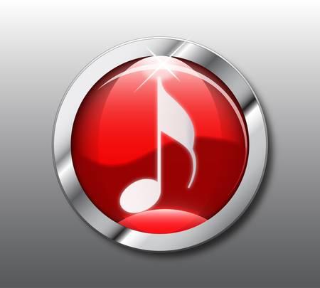 botones musica: Bot�n de m�sica rojo