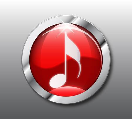 Red music button Stock Vector - 9376054