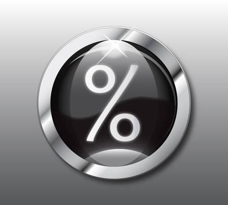 Black percent button Vector