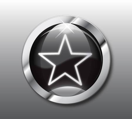 famous star: Black star button Illustration