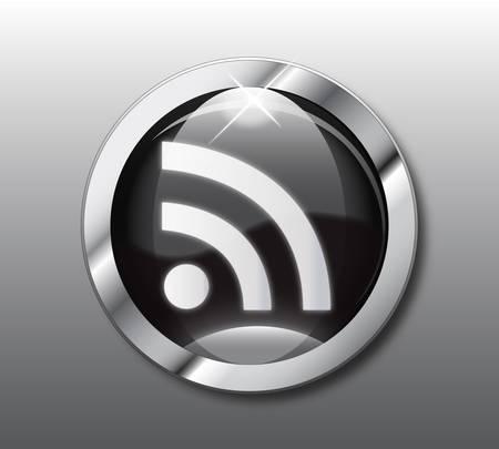 Black RSS button Vector