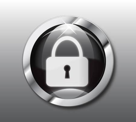 Black lock button Stock Vector - 9376061