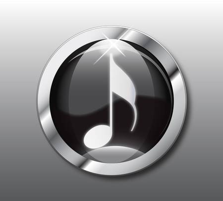 download music: Black music button Illustration