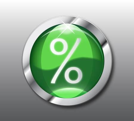 Green percent button Vector