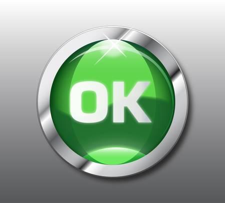 Green ok button Stock Vector - 9437180