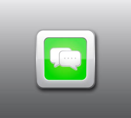 Green chat button Stock Vector - 9437175