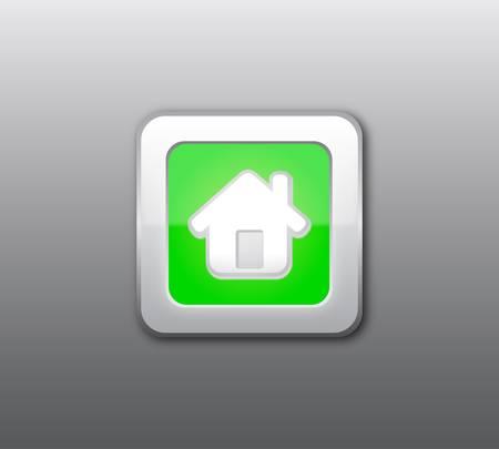 Green home button Stock Vector - 9435558