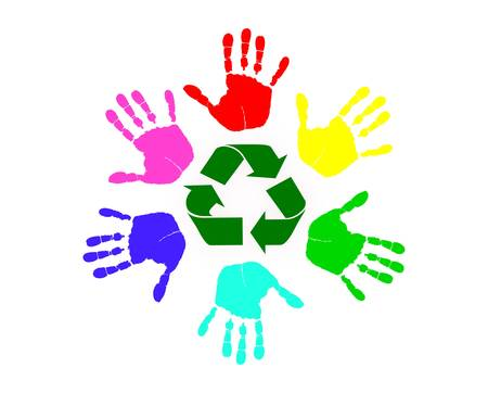 environmental awareness: Many different colored hands working to recycle together