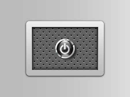 Power button on metal background Vector