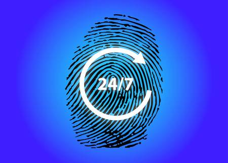 Fingerprint with Twenty four hour service sign-vector Vector