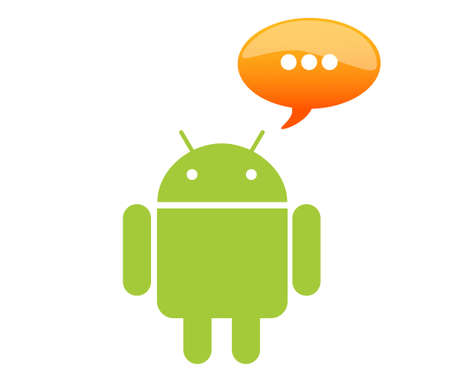 Android with chat box Stock Photo - 9387403
