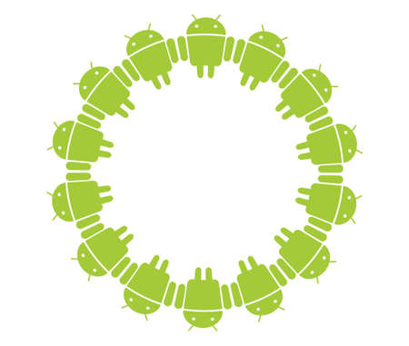 android: Androids in circle Editorial