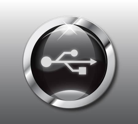 peripherals: Black USB button vector Illustration