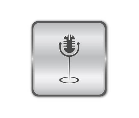 Chrome microphone button vector Vector