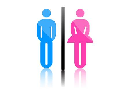 restroom sign: Colored male and female sign vector Illustration