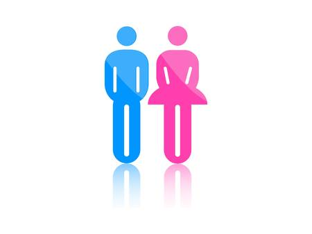 toilet symbol: Colored male and female sign vector Illustration
