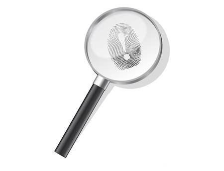 Detectives magnifier with exclamation sign fingerprint vector Vector