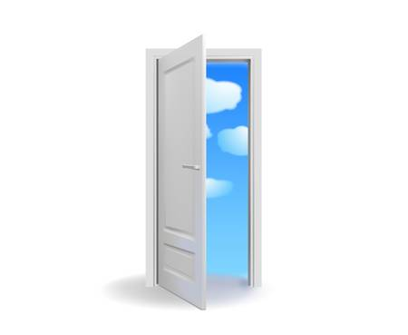 entrance door: Opened white door with cloudy  sky-vector Illustration