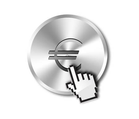 Euro button and hand cursor Vector