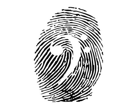Fingerprint with music symbol Vector